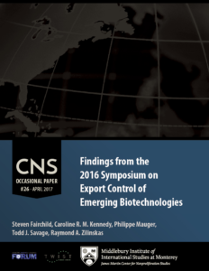 Occasional Paper #26: Findings from the 2016 Symposium on Export Control of Emerging Biotechnologies